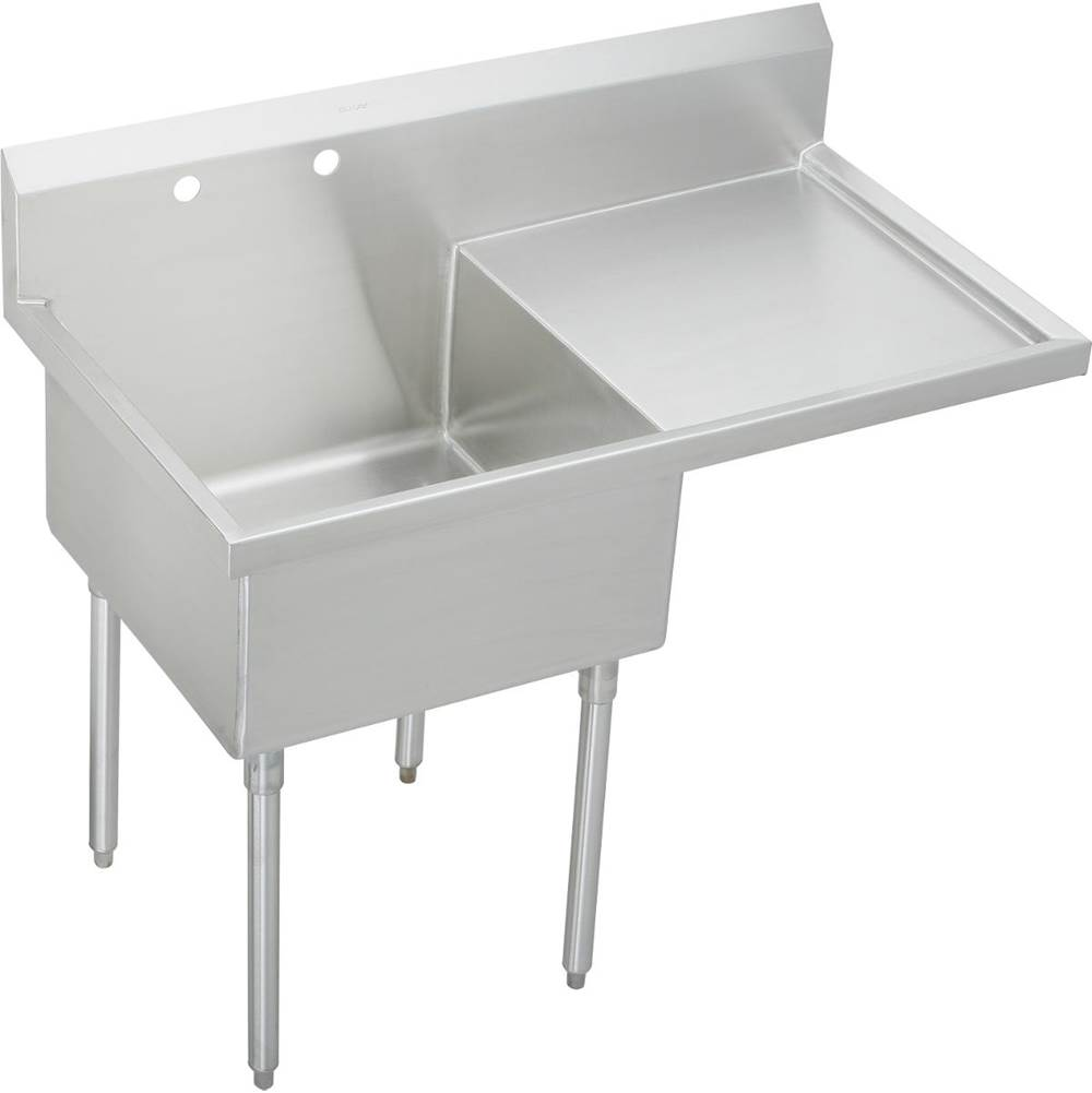 Elkay   WNSF8130R2   Elkay Weldbilt Stainless Steel 55 1/2u0027u0027 X 27 1/2u0027u0027 X  14u0027u0027 Floor Mount, Single Compartment Scullery Sink With Drainboard